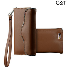 C&T Leather Folio Wristlet Cell Phone Case for Iphone 6 Plus