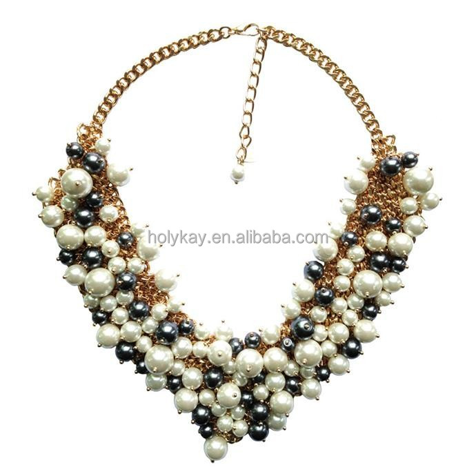New Model !!! Vogue pearl beaded gold plated necklace jewelry
