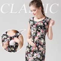 O-neck breastfeeding clothing maternity comfortable dress nursing dress