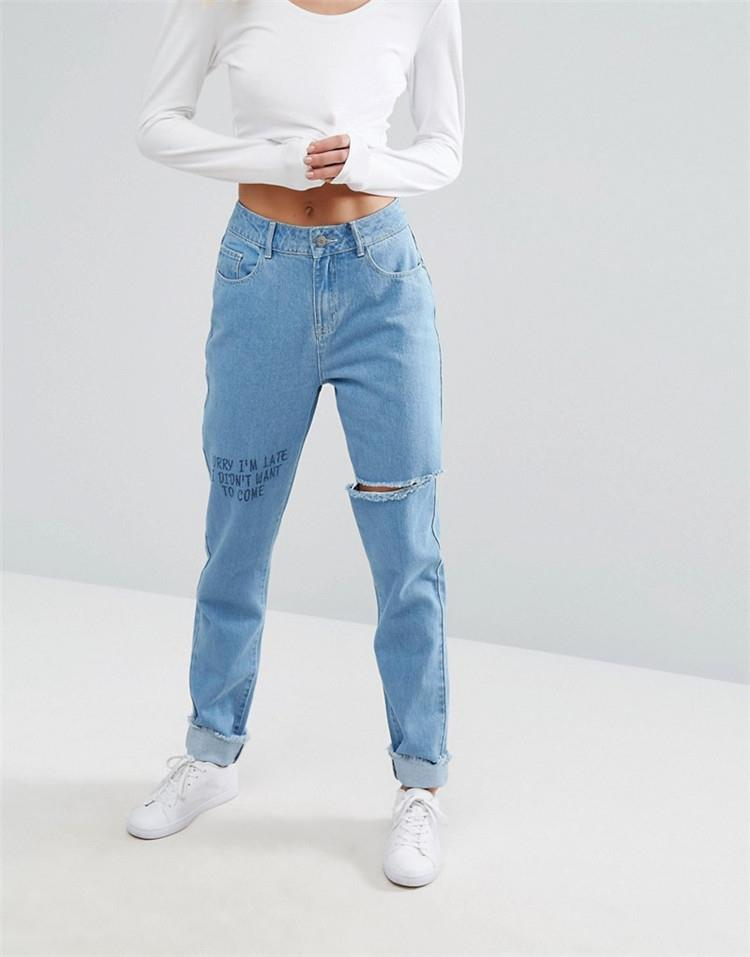 Royal wolf mom jeans blue antique wash with scribble detail & frayed raw rolled hem high waist mom jeans
