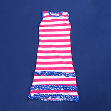 2015 boutique sexy girls and boys without dress bulk wholesale children frocks designs girls beachy stripe ruffle dress YW-033