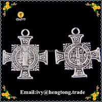 Antique palted silver Jesus christ religious cross pendant, jewelry & bracelet & keychain accessories or parts, rosary charms