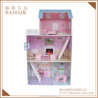 New Arrival Big Villa 3 Floors Pink Miniature Kids Wooden Toy Doll House