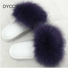 Spring New Outdoor Fox Fur Slipper Sandals Shoes For Women