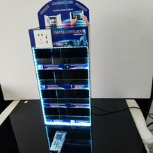 Charger Display 4 Tiers Acrylic LED Cell Phone Accessories Showcase acrylic led display light box