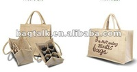 Promotional Foldable Wine Bag Organiser Jute Tote Bags Wholesale