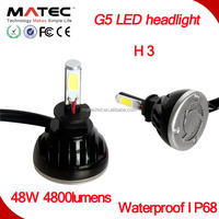 2016 Hottest!Top Sell Factory Price Good Quality High Power 48W 4800lms COB G5 Car Motorcycle LED headlight H3 LED head light