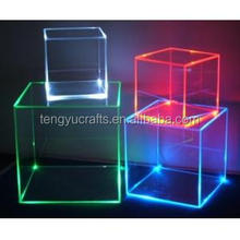 wholesale supplier counter transparent 6 sided acrylic clear display led light jewelry box for store
