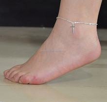 Summer Women Girl Silver Plated Cross Pendant Chain Anklet Ankle Bracelet