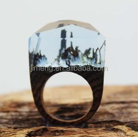 new products Miniature Landscapes in Resin Handmade Wood Ring Wood Ring taobao agent <strong>source</strong> 1688