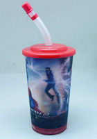 PP 3d plastic cup with lid and straw