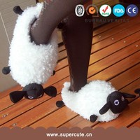 Cute and Individuality Sheep shape high quality winter sheepskin slipper