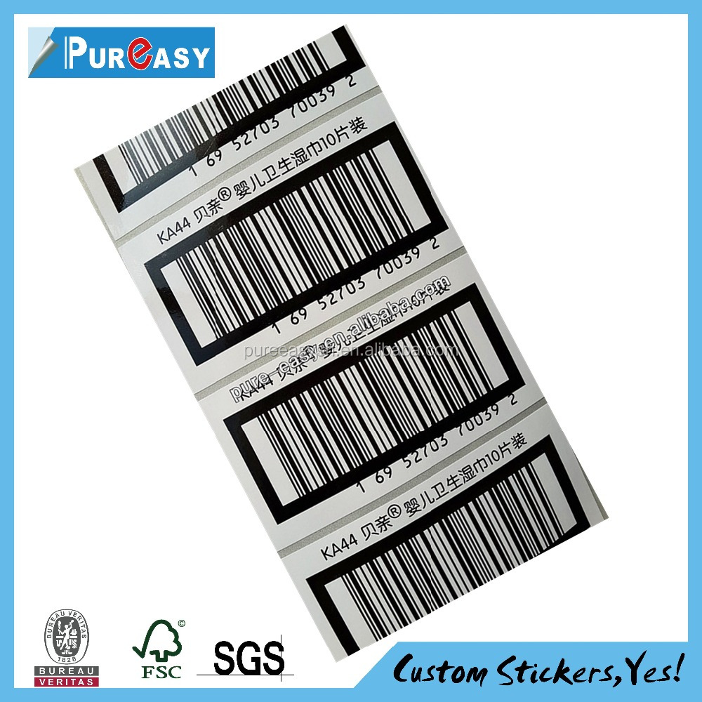 Custom printed self adhesive barcode record Logo Printed