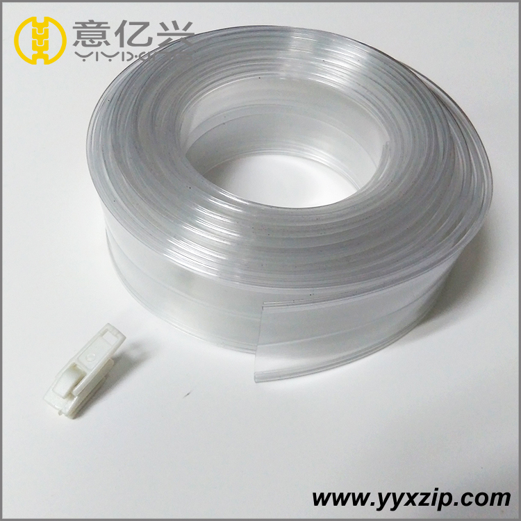 22mm wdith flat transparent pvc zipper without teeth