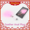 Pink feather anal plug metal Butt Plugs toys porn plaything promotion adult Anal sex sm toys for men and women