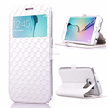 DIAMOND TEXTURE FLIP LEATHER CASE WITH CARD SLOTS & HOLDER & CALLER ID DISPLAY WINDOW FOR SAMSUNG GALAXY S6 EDGE / G9250 (WHITE)