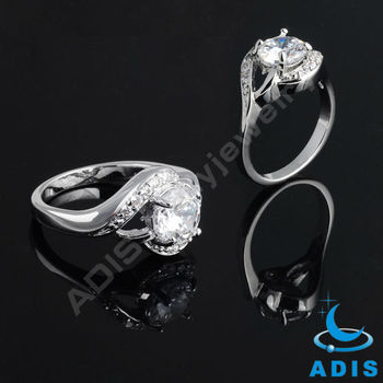 Fashion Jewelry Big White Zircon Engagement Ring Ladies' Finger Ring