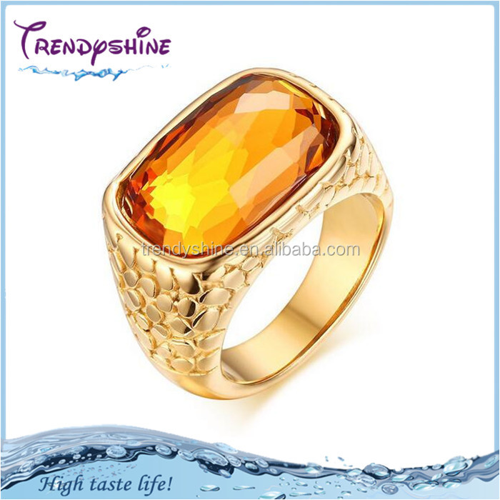 European unisex <strong>18</strong> <strong>k</strong> <strong>gold</strong> stainless steel yellow topaz ring