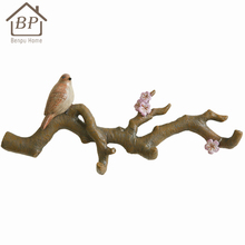 Polyresin artificial bird wall mount bags hanger Birds 3D Decorative Clothes Hook Home Storage Hook