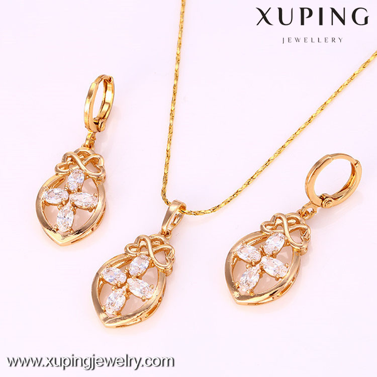 61791 New arrival wedding 18k gold color fashion jewelry set 2017