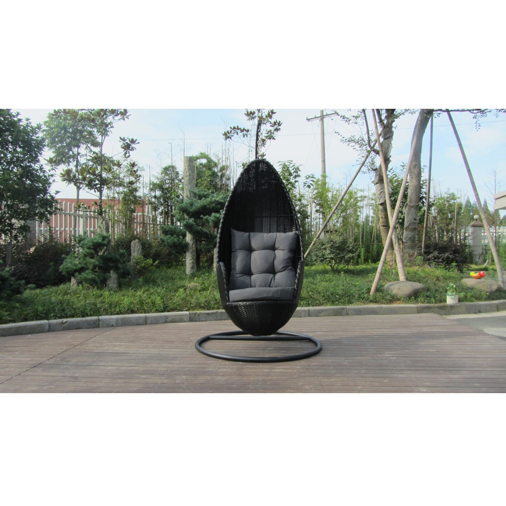 Brown PE rattan wicker hanging swing bullet chair with arm