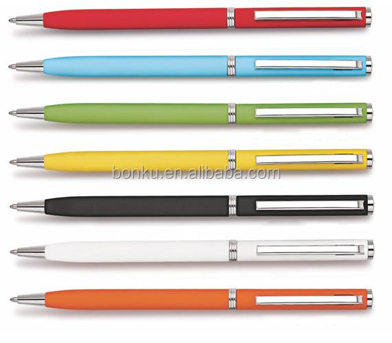 Popular stick metal ballpoint pen slim with hotel logo imprint