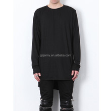 New Extended Oversized Loose Plain Blank Long Sleeve T shirt for Men
