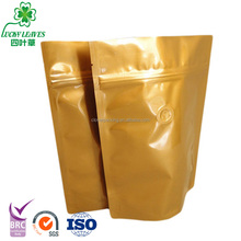 Accept OEM aluminum foil doypack coffee bean pouch with top zip lock/custom printed zipper standup food packing bag with valve