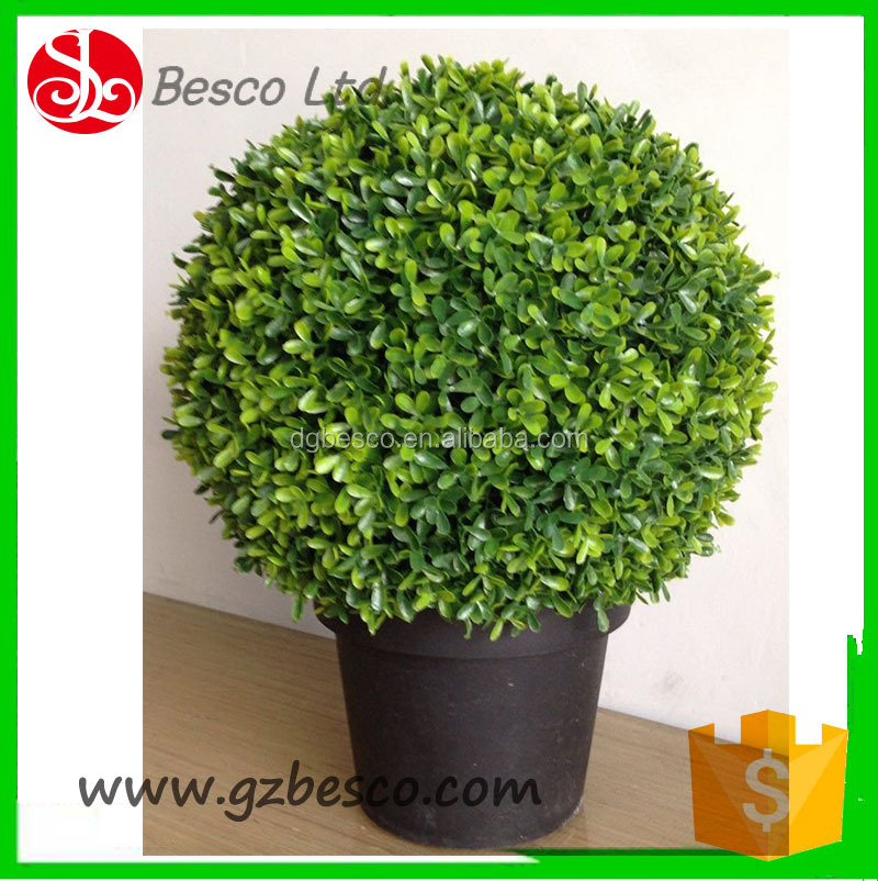 Garden Ornament Artificial bonsai topiary boxwood grass ball with Black Plastic Pot