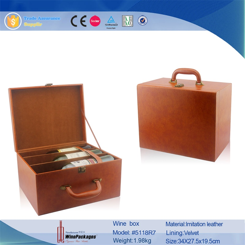 2014 fashion china wholesale leather 6 bottle wine wood cardboard bottle carrier