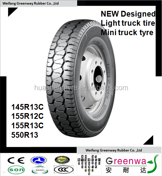 China factory NEW Designed TBR tires 145R13C 155R12C 155R13C 5.50R13 with light truck tires