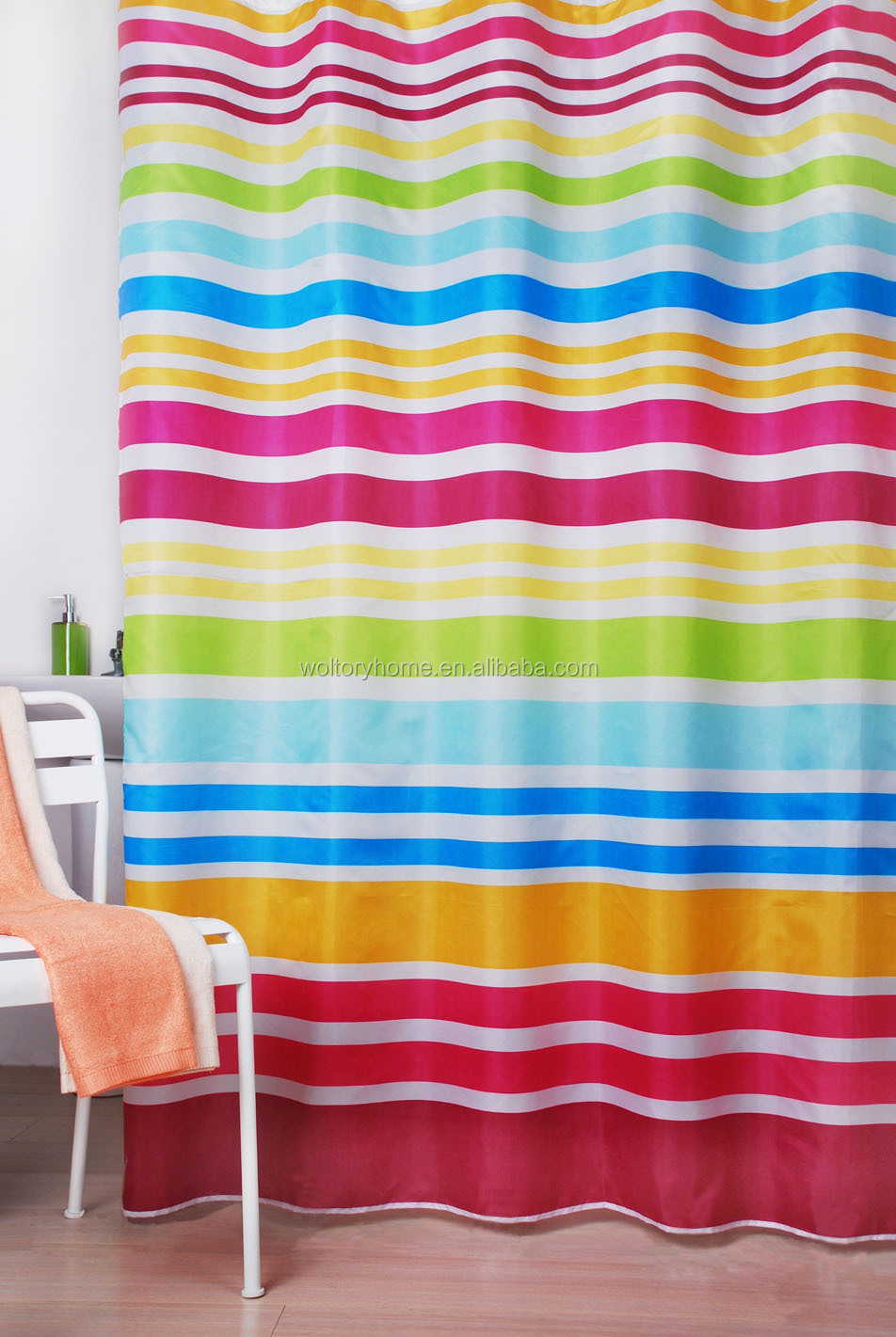 Water repellent Colorful Rainbow textile thick durable shower curtain