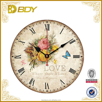customized vintage cheap decorated wood digital wall clock