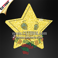 Cartoon faced yellow star bling rhinestone custom glitter new heat transfers