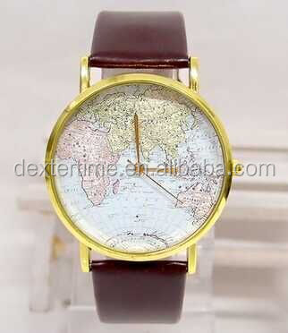 New Design map printing dial plat face geographical map ladies watch