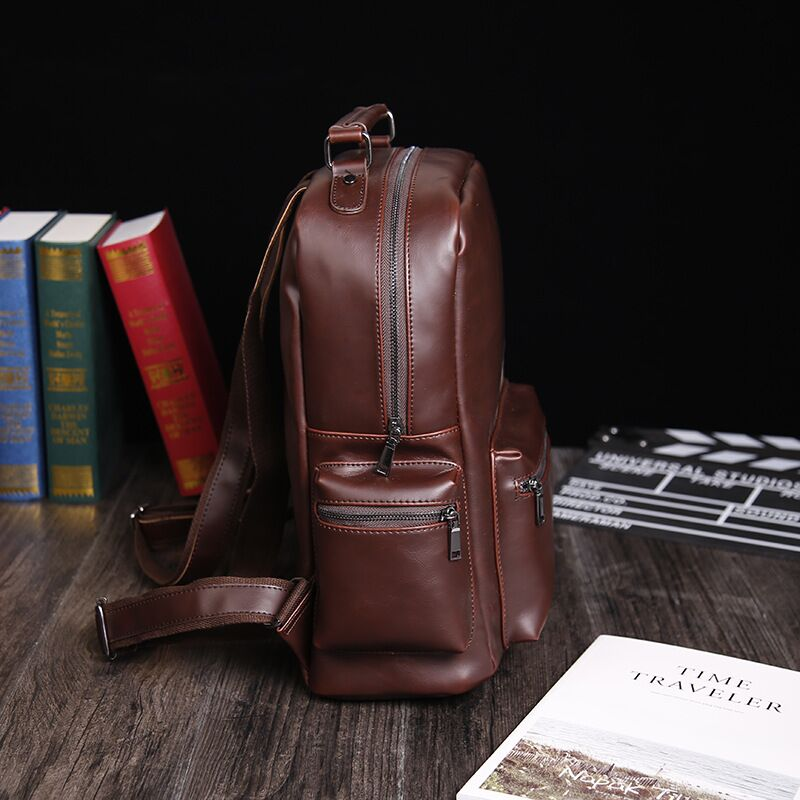 crazy horse PU vintage teenager outdoor leather backpack bag