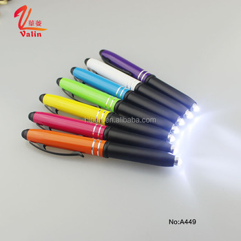 3 in 1 colorful LED light pen with touch screen stylus cap