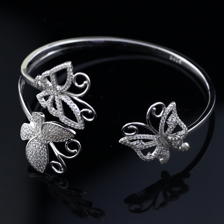 SJbeme-sz0050 Beautiful Design Hot Sale New Coming 925 Sterling Silver Cubic Zirconia Butterfly Shape Open Bangle