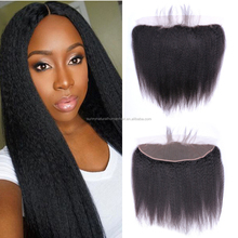 Cheap Virgin Hair Brazilian Yaki Straight Lace Frontal Closure With Baby Hair Kinky Straight 13*4 Lace Frontal Free Shipping