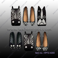 NEW FASHION COMFORTABLE CAT FACE EMBROIDERY DECORATION FLAT BASE SHOES
