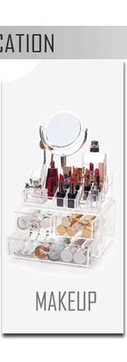 Fashion 3 layer Divided Clear Stackable Acrylic compartment rectangle cosmetic Makeup Storage Box With Lid