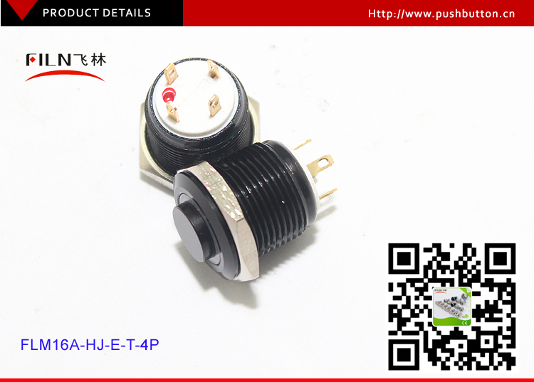16mm black housing high flat 4pin momentary 12v red led metal push button switch with cable