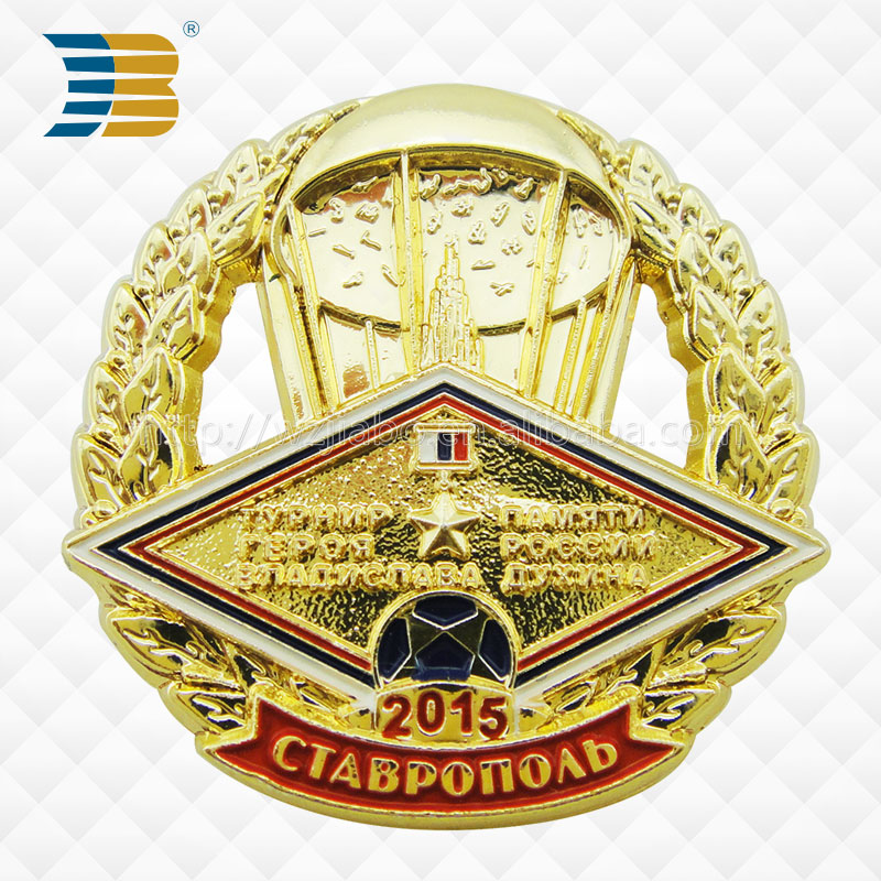 high quality custom pin on metal badge for the commeration of world cup
