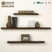 Wahtai Luxury Design 60 CM Gloss Effect Floating Brown Wooden Wood Shelf