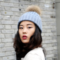 CX-C-237E Wholesale Large Raccoon Fur Ball Knit Beanie Cap Winter Hats With Pom Poms