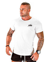 Quick dry fit men STRONG print gym training sport muscle t shirt