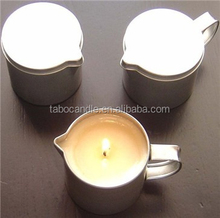 round tin with a pouring spout tin candle
