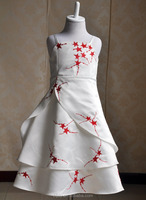 Red stars decoration sash bridal ball gown wedding elegant dress first communion party dress sexy girls photo