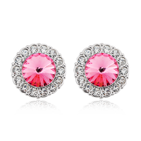 Pink Stud Earring, Crystal Stud Earrings Wholesale