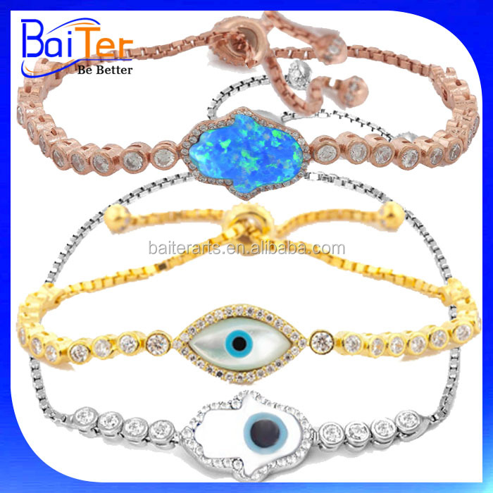 Adjustable Hand Of Fatima Evil Eye Turkish Jewelry/925 Sterling Silver CZ&Mother Of Pearl&Hamsa Hand Evil Eye Tennis Bracelet